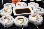 Sushi set with soy sauce — Stock Photo