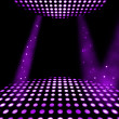 Dance floor disco poster background. Illuminated spotlights - Stock Photo