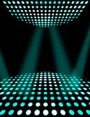 Dance floor disco poster background. Cyan spotlights — Stock Photo