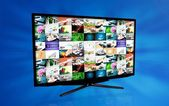 Widescreen high definition TV screen with video gallery. Televis — Stock Photo