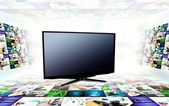 Blank modern TV with 3D image streming composition — Stock Photo