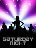 Saturday night. Disco poster background layout — Stock Photo