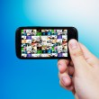 Smart phone with multimedia gallery. Internet and TV streaming c — Stock Photo #26205333