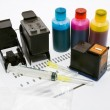 Stock Photo: Ink refill set for printer