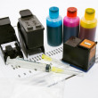 Ink refill set for printer — Stock Photo