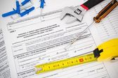 Polish tax form and tools. Credit for home construction. — Stock Photo