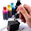 Injecting ink cartridge. Set of refill inkjet for print. — Stock Photo