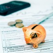 Piggybank on polish tax form. Coins and calculator in background — Stock Photo