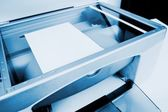 Close-up working printer scanner copier device — Stock Photo