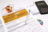 Polish income tax PIT-37 form with calculator and piggybank — Stock Photo