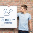 Young man holding whiteboard with cloud computing content — Stock Photo