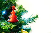 Red bauble shape of christmas tree — Foto de Stock