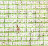 Frammento a scacchi bianco e verde sporco della tessitura del panno — Foto Stock