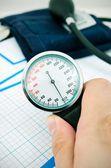 Analog pressure gauge — Stock Photo