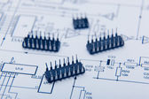 Microchip on one diagram — Stock Photo