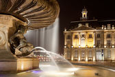 Fountain of the three graces, Bourse square, Bordeaux, Gironde, — Stock Photo