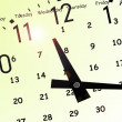 Clock and yellow calendar — Stock Photo