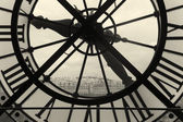 Clock and view of Montmartre, Paris, Ile de France, France — Stock Photo