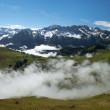 Fog in Swiss Alps - Stock Photo