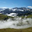 niebla en Alpes suizos — Foto de Stock