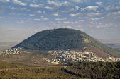 Biblical Mount Tabor and the Arab village — Stockfoto