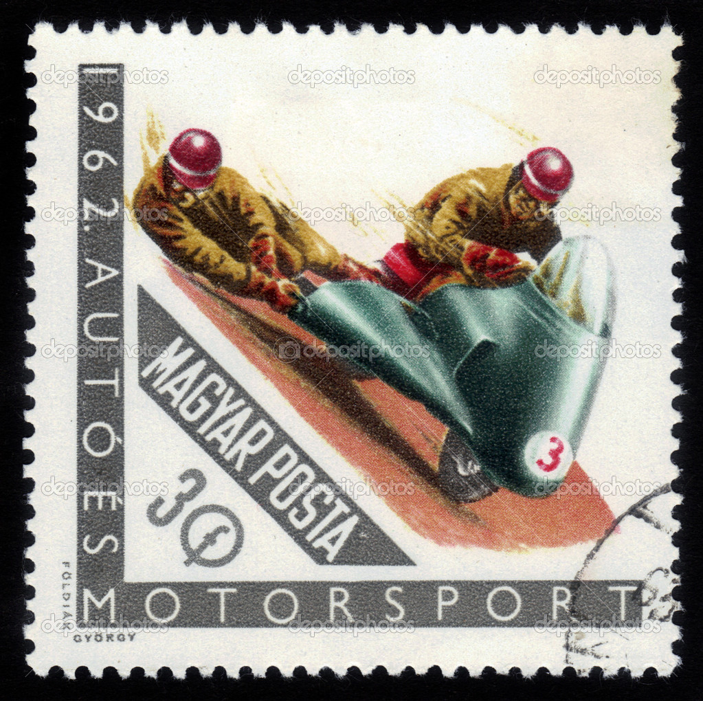 HUNGARY - CIRCA 1962: a stamp printed in the Hungary shows racing motorcyclist, circa 1962 — Stock Photo #13164098