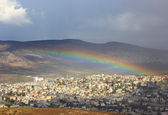 Rainbow over cana van galilee, israël — Stockfoto