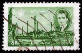 Shah Mohammad Reza Pahlavi and ruins of Persepolis — Stock Photo
