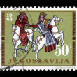 King and Queen on horseback - Foto Stock