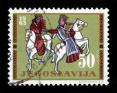 King and Queen on horseback — Stock Photo