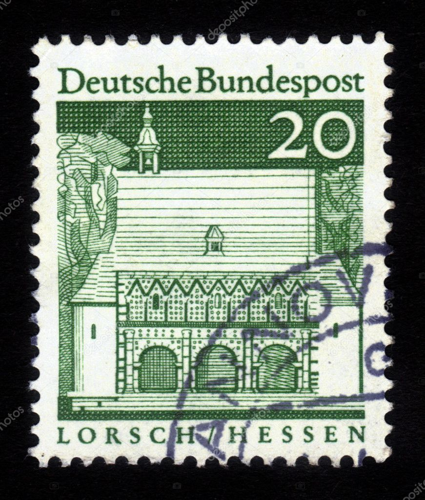 GERMANY - CIRCA 1967: a stamp printed in the Germany shows Portico, Abbey Lorsch , Hessen, circa 1967 — Stock Photo #15411109
