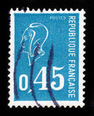 Marianne (by Bequet) national emblem of France, blue — Stock Photo