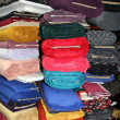 Stock Photo: Rolls of colorful textiles