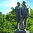 Sculptures of two naked males in Vigeland park , Oslo - Stock Photo