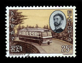 Emperor Haile Selassie and passenger bus firm Mercedes — Stock Photo