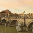 Sant'Angelo Bridge at sunset, Rome — Stock Photo