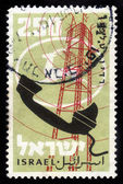 Retro telephone and logo of mail of Israel — Stock Photo