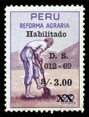 Peruvian peasant, agrarian reform in Peru — Stock Photo