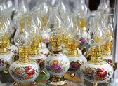 Kerosene lamps with painted roses — 图库照片