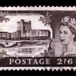 Queen Elizabeth and castle Carrickfergus — Stock Photo