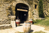 Entrance to the wine cellar in the Provence, France — Stock Photo