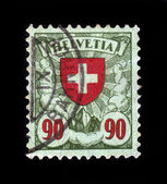 Red cross, coat of arms of Switzerland — Stock Photo