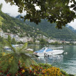 Landscape overlooking the Montreux and yachts, Switzerland — Stock Photo