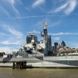 The HMS Belfast on the River Thames — Stock Photo