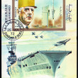 Charles de Gaulle and aircraft carrier — Stock Photo