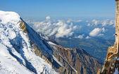 Steep snowy cliffs Swiss Alps — Stock Photo