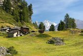 Pastoral landscape in the Swiss Alps — Stock Photo