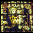 Virgin and child, stained glass window — Stockfoto