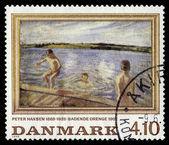 Ressam peter marius hansen, çocuklar banyo — Stok fotoğraf