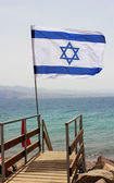 Israeli flag against the background of the Red Sea — Stock Photo
